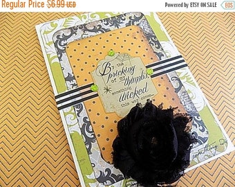 Halloween Embellished Card - Soemthing Wicked This Way Comes - Blank Greeting - Orange Black