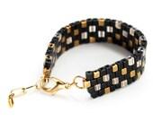 Beaded Bracelet in Black, Gold & Bronze in Pixel Pattern