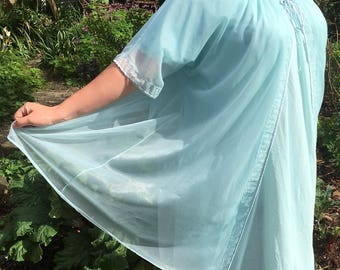 Vintage 60's Pale Blue Silk Peignoir Gown and Robe Set