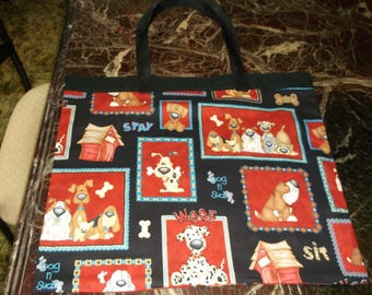 """FUNNY DOGS BAG XLg 15.5 X 18"""" Reusable Fabric Grocery/Overnight/Book Carrier/Flea Market"""