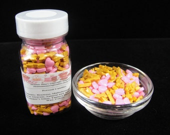 Valentine's Day Sprinkles, Pink Hearts and Arrows Sprinkles, Cake Pops, Cupcake Sprinkles, Heart Sprinkles, Candy Sprinkles  - 2oz  Jar