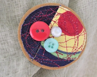 Round Fabric Brooch women's multicolor lapel pin abstract button Fashion Accessory Purse pin scarf decoration teacher gift Christmas gift