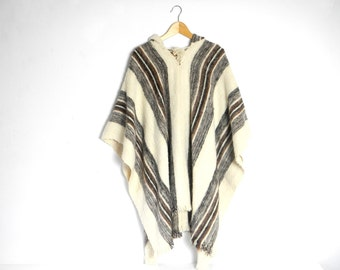 Vintage 1970s Bolivian Cream and Brown Striped Alpaca Poncho