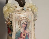 Virgen Mary, Virgen de Guadalupe, Religous Pillow , Hanging Ornament, Mexican Boho