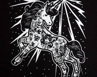 Electric Unicorn Adult Tee Shirt - Lowbrow Tattooed Unicorn Illustration T Shirt S M L Xl Xxl 3Xl