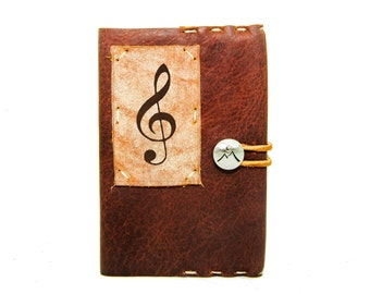 Small Leather Journal with Treble Clef in Merlot Saddle
