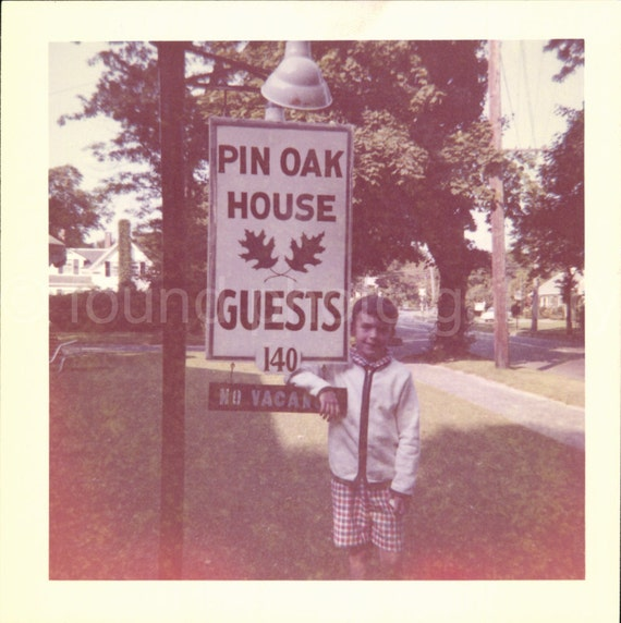 Vintage Photo, Hotel Inn Sign, Girl, Child, Pin Oak House, Guest House, Color Photo, Snapshot, Found Photo, Holiday, Vacation Photo    *0582