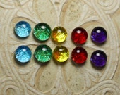 "Dichroic Glass Cabochons Small Multicolored 5/16"" round. C-171"
