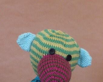 Teddy bear, hand knitted bear, cotton, multi colour