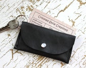 Black Leather Keychain Wallet - Student ID Holder - Card Holder Keychain - Thin Wallet - Minimalist Wallet - Pocket Wallet
