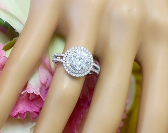 14K White Gold Round Cut Forever One Moissanite and Diamond Engagement Ring Deco Double Halo, Bridal, Wedding, Split Band, Annivesary  2.10c