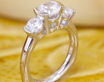 14k white gold round cut three stone semi bezel diamond engagement ring, anniversary, wedding, bridal, propose, promise 1.50ct G-SI1 EGL US