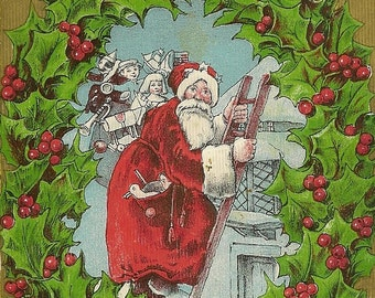 Santa Climbs Ladder to Deliver Gifts Bright Red and Green Holly Wreath Vintage Christmas Postcard Robbins Bros circa 1910