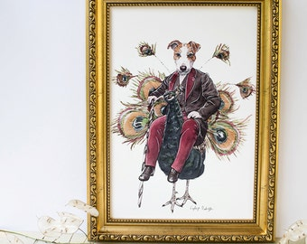 Jack Russell Terrier dog riding upon a Peacock illustrated artwork A4 print