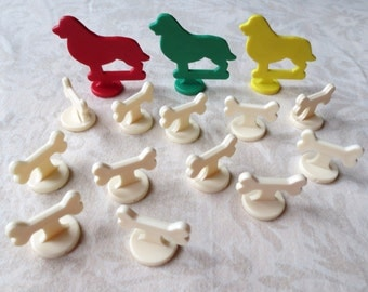 15 Plastic Games Pieces, Markers, Dog Bones and Dogs