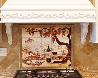 The Vineyard Kitchen Tile Mural backsplash of Wine
