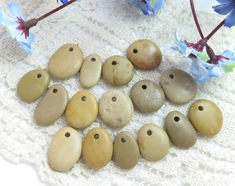 Top Drilled Beach Pebbles 16 pcs, Jewelry Pendants, Rare Stones, Eco Friendly Beads,Design ideas, Crafts, Necklace DIY