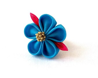 Blue Sakura Ring Cute Kanzashi Statement Jewelry Adjustable