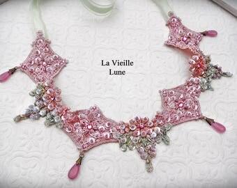 Pink and Green Lace Choker, Victorian Choker, Lace Necklace, Bridal Choker, Lace Jewelry