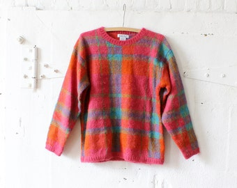 Fuzzy Sweater M • Plaid Sweater • Mohair Sweater • Fluffy Sweater • 80s Sweater • Colorful Sweater • Wool Sweater • Boxy Sweater | T661