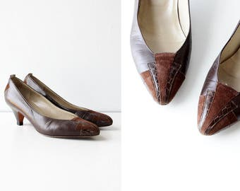 Italian Shoes 6 1/2 • Vintage Heels • 80s Shoes • Low Heels • Snakeskin Shoes • Brown Pumps • Leather Heels | SH441