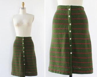 Knit Skirt XS/S • 60s Skirt • Striped Skirt • Vintage Skirt • Flare Skirt • High Waisted Skirt • Green Skirt • Knee Length Skirt  | SK804