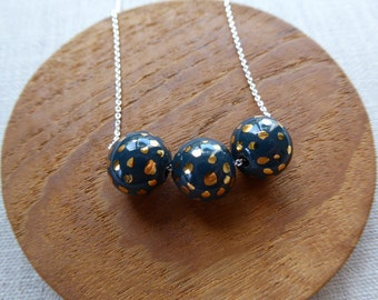 Dalmatian Speckled Gold Ball Necklace