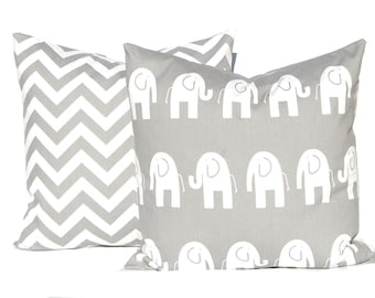 Decorative Pillow Covers -  Children Decor - Gray Cushion Covers - Elephant and Chevron - Nursery Decor - All Sizes