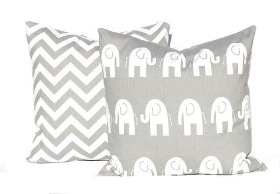Decorative Pillow Covers -  Children Decor - Gray Cushion Covers - Elephant and Chevron - Nursery Decor - All Sizes