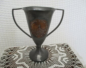 Vintage 1923 Trophy Cup - Kennebunk River Club - Small Loving Cup - Skip Jack Race - Second Prize - Cottage Decor - Shabby Decor