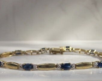 Estate 10K Solid Yellow Gold, Sapphire and Diamond bracelet, 7 inches long