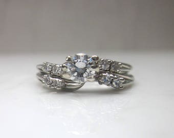 Vintage .49 Carat Diamond and 14k Solid White Gold Wedding Set Engagement Ring and Wedding Band, Size 6.5