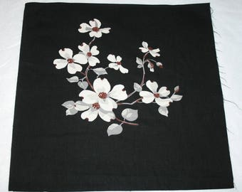 Rare Pristine Dogwood Flowers on Black Unused Wilendur Vintage Tablecloth Fabric Piece for Pillow or Projects — Design #2 — 17 x 17 Inches