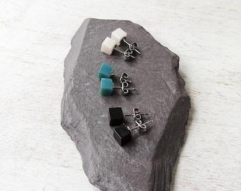 Cube Stud Earrings, Small Square Resin Earrings, ONE Pair, Ear Post Earrings, Black Teal or White, Resin Jewellery, Resin Jewellery, UK, 753