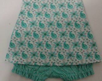 Baby Girl Cross Back  Pinafore With Bloomers  in Sizes New Born - 3T Aqua Paisley