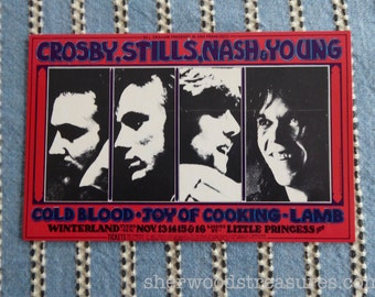 Crosby Still Nash and Young Fillmore Winterland San Francisco CSNY BG 200 Showback (card cut from a double card) 1969