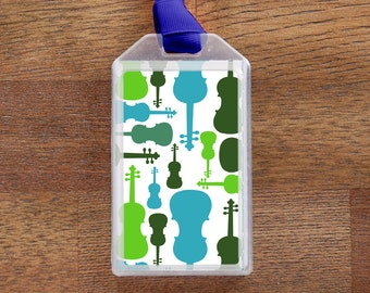 Violin Musical Instrument Case ID  or Luggage Tag - Blue and Green