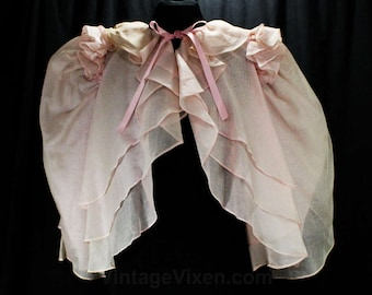 Size Medium Designer Jacket - 1930s Inspired Sheer Pink Bouffant Cotton Organdy - Dainty Layers - 1980s Dan De Santis Deadstock - 48452