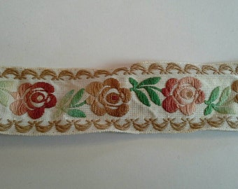 Shades of Browns and Tans Floral Jacquard Woven Ribbon  Sewing Trim 3 Yards by 1 3/8  Inches Wide L0580