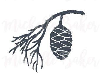 Pinecone silhouette, commercial use svg, vector clip art, botanical illustration, instant download, SVG, DXF, EPS, png, cutting files