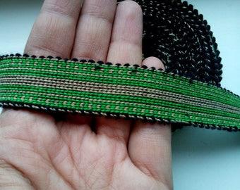 Uzbek handwoven green cotton trim Jiyak. Tribal ethnic, boho, hippy trim. TR063