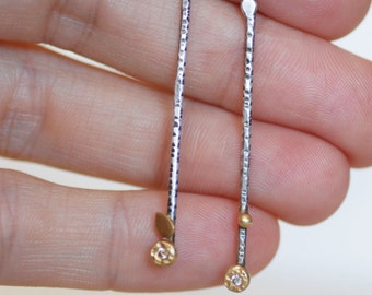 Diamond Stick Post Earrings - 18k Gold Sterling and Diamond Flowering Branch Earrings