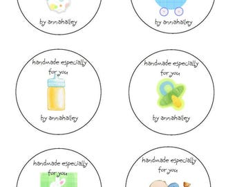 Crochet Personalized Baby Circle Gift Tags Labels PDF Handmade for you crochet for you Labels Printable PDF only