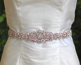 Rose Gold Sash, Full Length Bridal Sash, Blush Bridal Belt, Long Crystal Wedding Belt, Ceinture de Mariée  AMOUR RG LONG