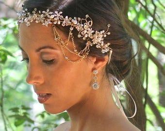 Gold Hair Vine, Pearl Bridal Hair Vine, Pearl & Crystal Boho Hairpiece, Gold Wedding Hair Vine, ALLIE