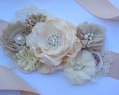 Bridesmail/Bridal sash, ribbon bridal belt, champagne and ivory flower sash, ribbon sash. Bridesmaid, flower girl belt, maternity sash belt