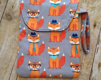 Diaper Pouch -  Fox Fabric - diaper clutch with wrist strap