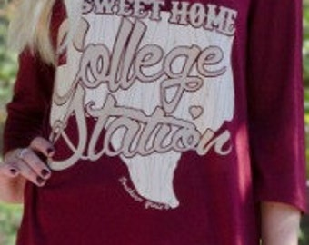 Sweet Home College Station Texas Aggies ringer 3/4 Sleeves Burnout Adult & Youth Tee