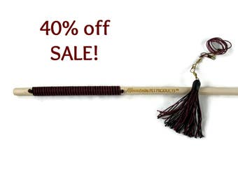 32 Inch Tassel Teaser Cat Wand Toy - Hemp Cat Toy - All Natural - Burgundy & Black - Save 40%