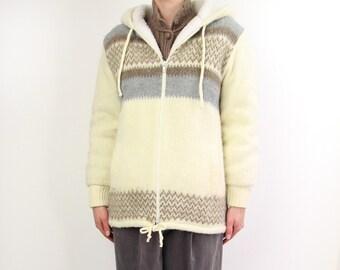 VINTAGE Nordic Fleece Coat Sweater Jacket Hood